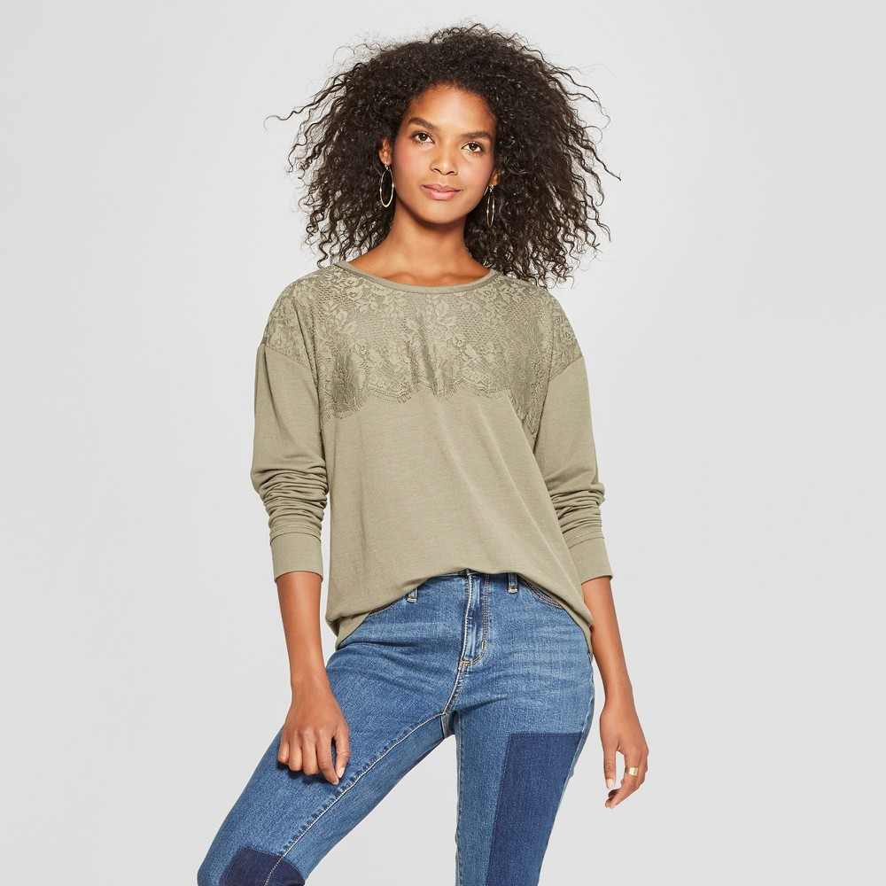 Women's Long Sleeve Lace Top Lace-Up Back Knit Top - Xhilaration Olive (Green) XL