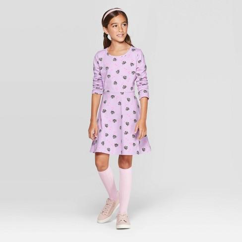 Girls' Cat Knit Long Sleeve Dress - Cat & Jack™ Purple - image 1 of 3