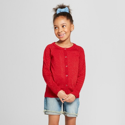 Girls' Cardigan - Cat & Jack™ Red L - image 1 of 4