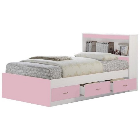 Twin Size Captain Bed with 3 Drawers and Headboard in Pink - Hodedah - image 1 of 2