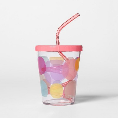 15oz Plastic Kids Swirly Straw Cup Pink - Pillowfort™