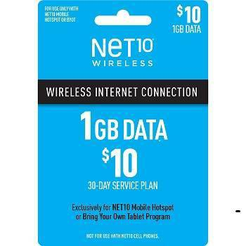 NET10 $10 Mobile Hotspot (1GB) Data Plan - (Email Delivery)