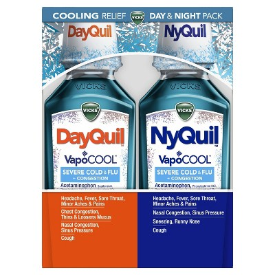 Vicks DayQuil & NyQuil Severe with Vapocool Cold & Flu Relief Liquid - Acetaminophen - 24 fl oz