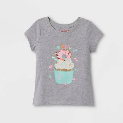 Toddler Girls' Birthday Cupcake Short Sleeve Graphic T-Shirt - Cat & Jack™ Heather Gray