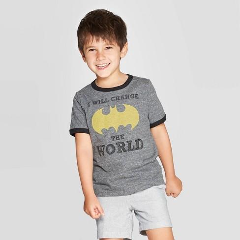 Toddler Boys' DC Comics 'I Will Change The World' Batman Short Sleeve T-Shirt - Gray - image 1 of 3