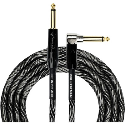 """KIRLIN IWB Black/White Woven Instrument Cable 1/4"""" Straight to Right Angle"""