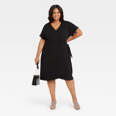 Women's Plus Size Short Sleeve Wrap Dress - Ava & Viv™
