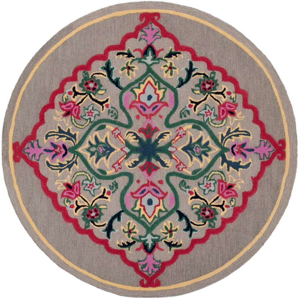 7' Medallion Round Area Rug Dark Gray - Safavieh, Dark Gray/Multi-Colored