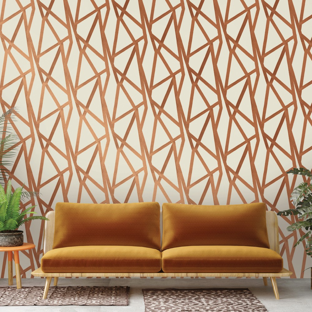Intersections Self-Adhesive Removable Wallpaper By Genevieve Gorder - Urban Bronze, Brass