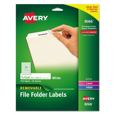 Avery Removable 1/3-Cut File Folder Labels Inkjet/Laser .66 x 3.44 White 750/PK 8066