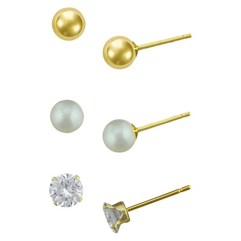 Girls' Gold Over Sterling Silver 3 Pr-Cubic Zirconia/Ball/Pearl Stud Earring Set-4Mm-White - image 1 of 1