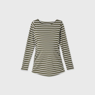 Maternity Striped Long Sleeve Boat Neck Side Shirred T-Shirt - Isabel Maternity by Ingrid & Isabel™ Olive L