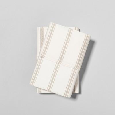 Standard Pillowcase Set Organic Tic Stripe Sour Cream / Pebble - Hearth & Hand™ with Magnolia