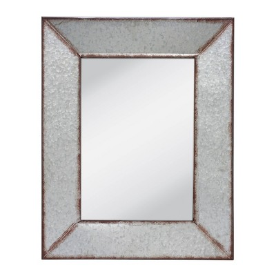 "28"" x 22"" Rectangular Galvanized Metal Wall Hanging Mirror Silver - Stonebriar Collection"