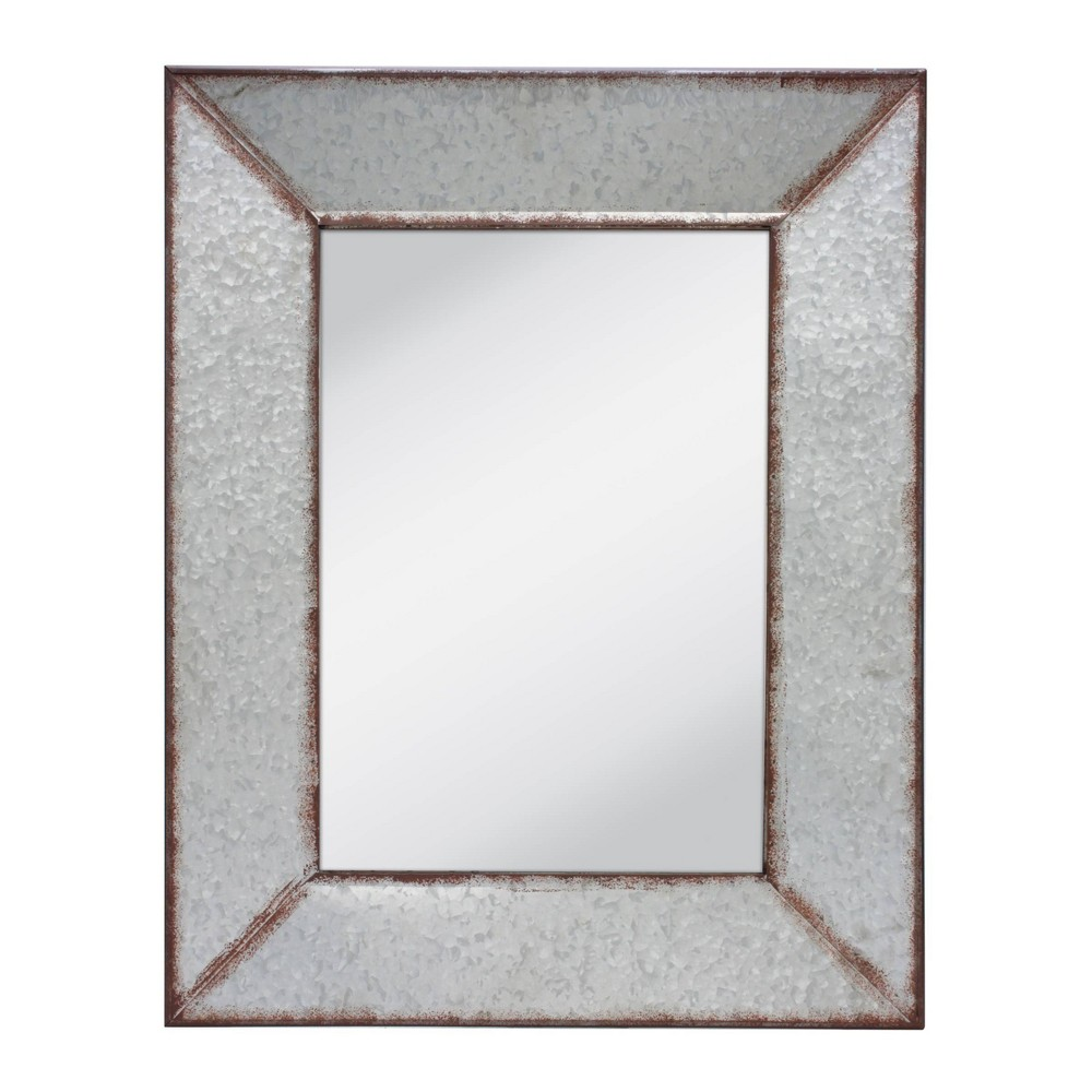 Image of Rectangular Galvanized Frame Decorative Wall Hanging Mirror Metal - Stonebriar Collection