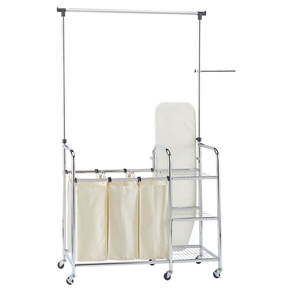 Household Essentials Triple Sorter and Ironing Board Laundry Station - Chrome (Grey)