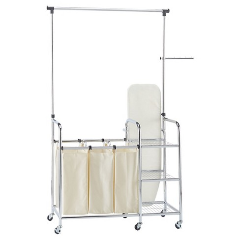 Household Essentials Triple Sorter And Ironing Board Laundry Station Chrome