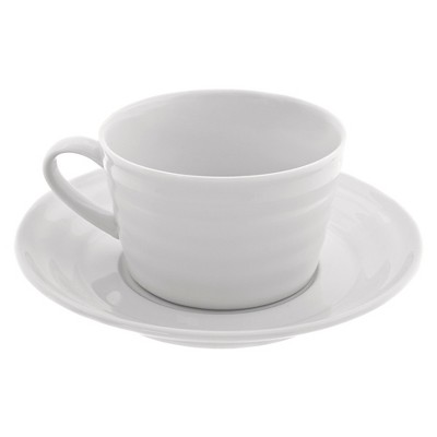 4pk 9oz Porcelain Cup and Saucer Set White - 10 Strawberry Street