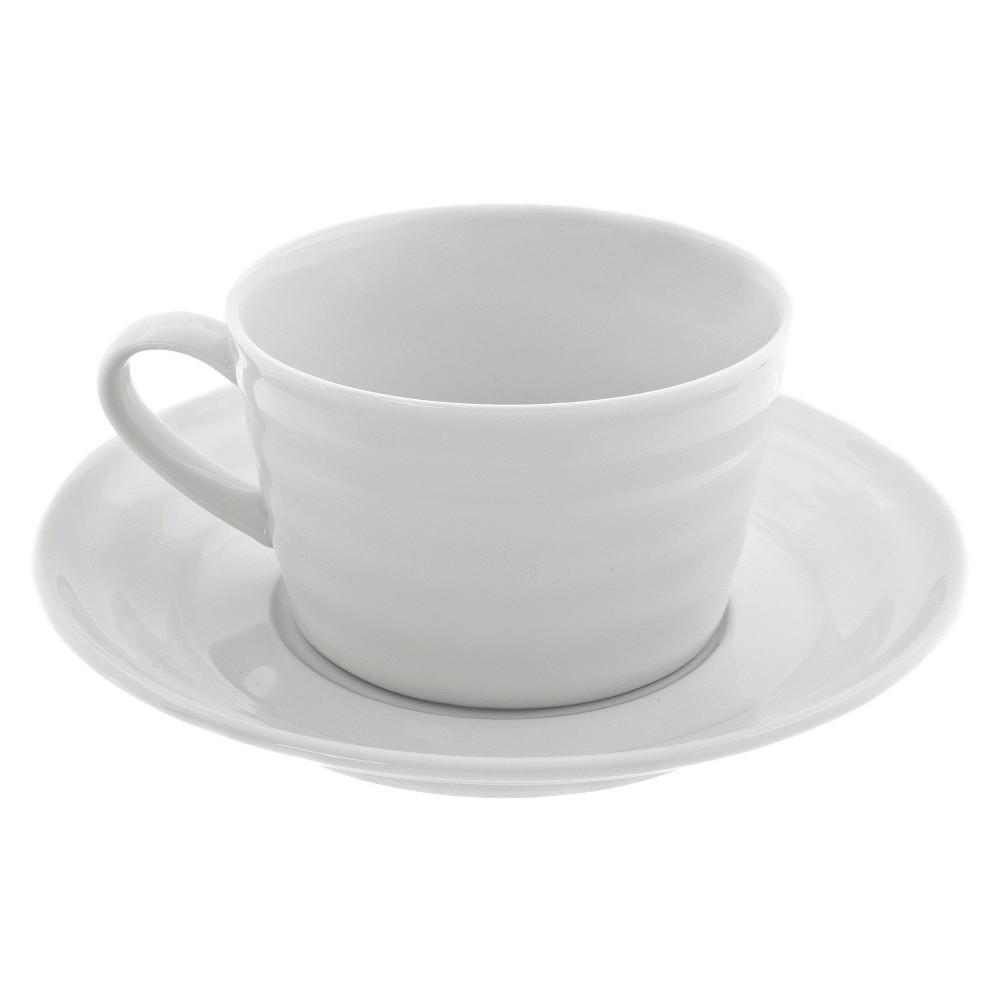 Oversized Cup/Saucer Swing White 9oz Set of 4 - 10 Strawberry Street