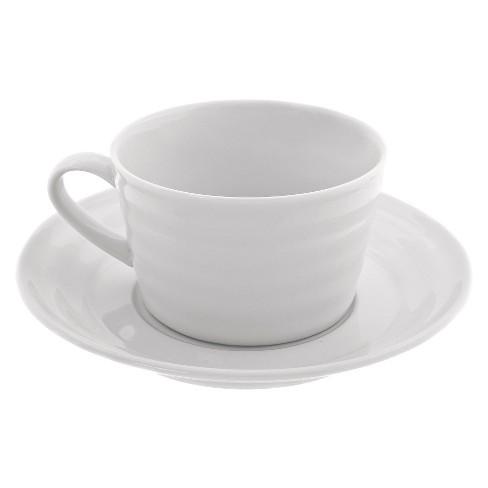 4pk 9oz Porcelain Cup And Saucer Set