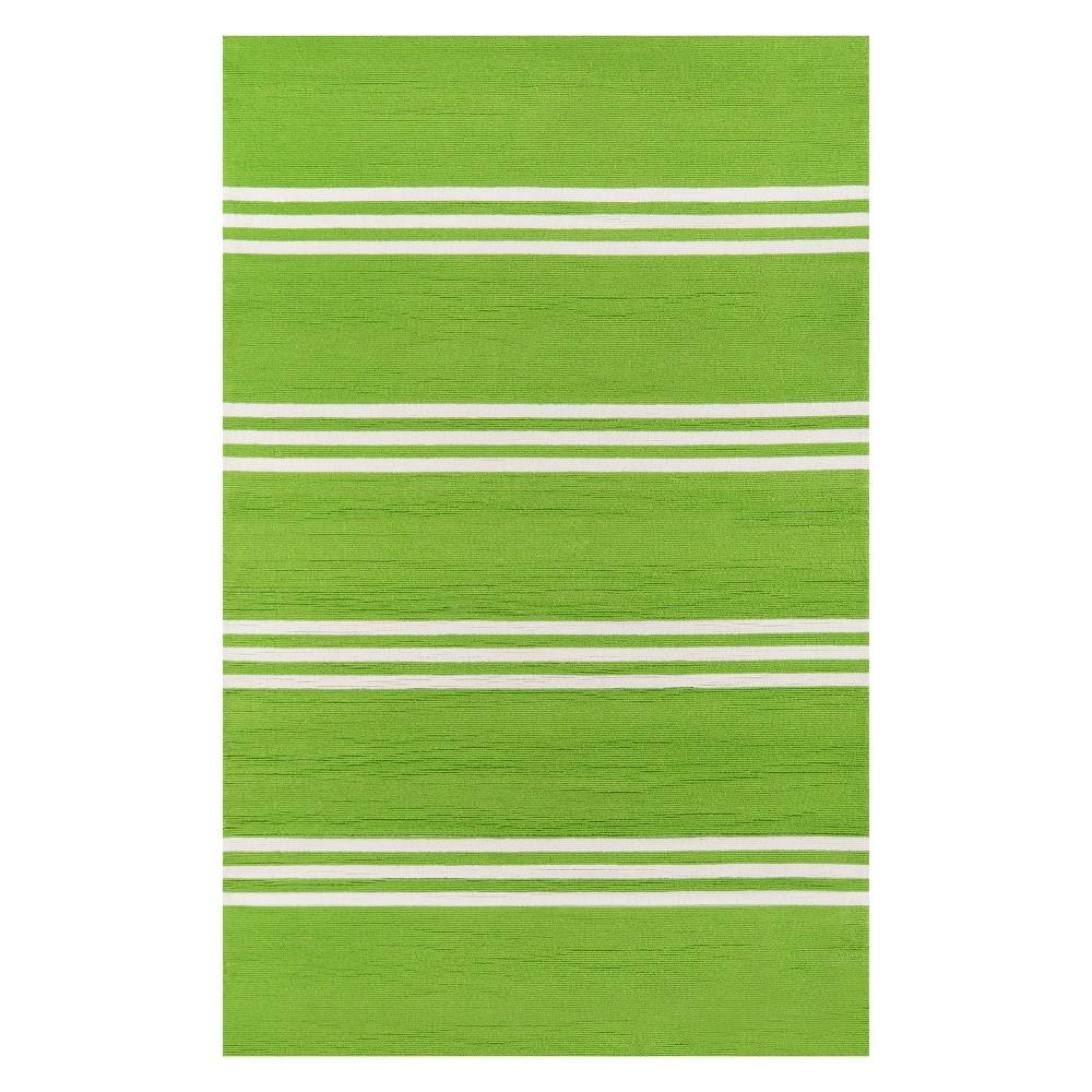 5'X8' Stripe Hooked Area Rug Lime (Green) - Momeni