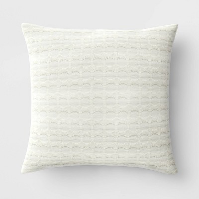 "18""x18"" Waffle Square Throw Pillow Neutral - Threshold™"