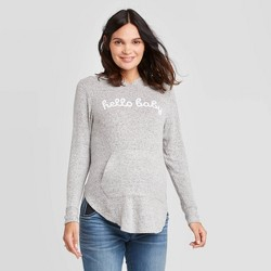 Maternity Long Sleeve Cozy Hoody Hello Baby Sweatshirt - Isabel Maternity by Ingrid & Isabel™ Gray