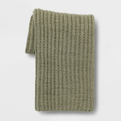 Chunky Knit Throw Blanket Sage - Threshold™