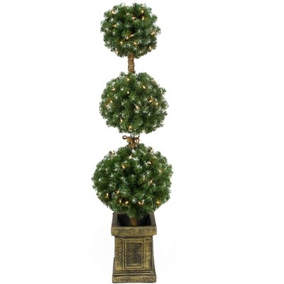 Northlight 4.5' Prelit Artificial Christmas Tree Frosted Triple Ball Topiary in Decorative Pot - Clear Lights