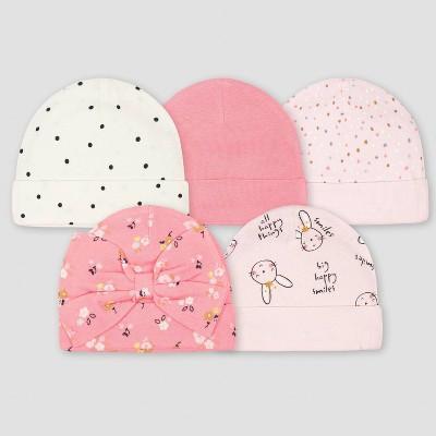 Gerber Baby Girls' 5pk Ballerina Caps - Pink