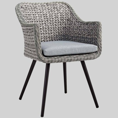 Endeavor Outdoor Wicker Rattan Dining Armchair Gray - Modway