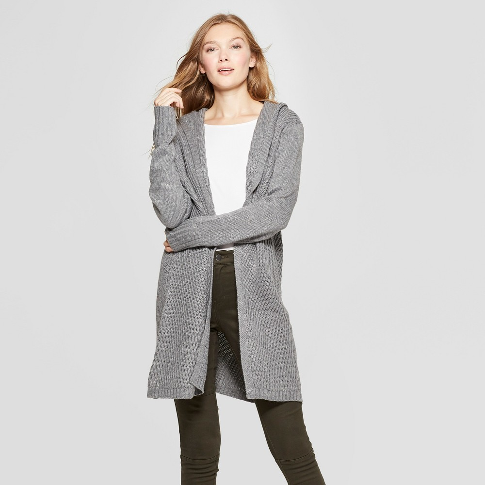 Women's Hooded Car Coat - A New Day Gray M