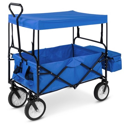 Best Choice Products Utility Cargo Wagon Cart for Beach, Errands w/ Folding Design, Removable Canopy, Cup Holders
