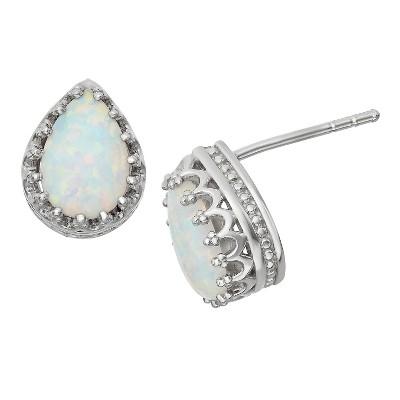 Tiara Sterling Silver Pear-Cut Gemstone Crown Earrings