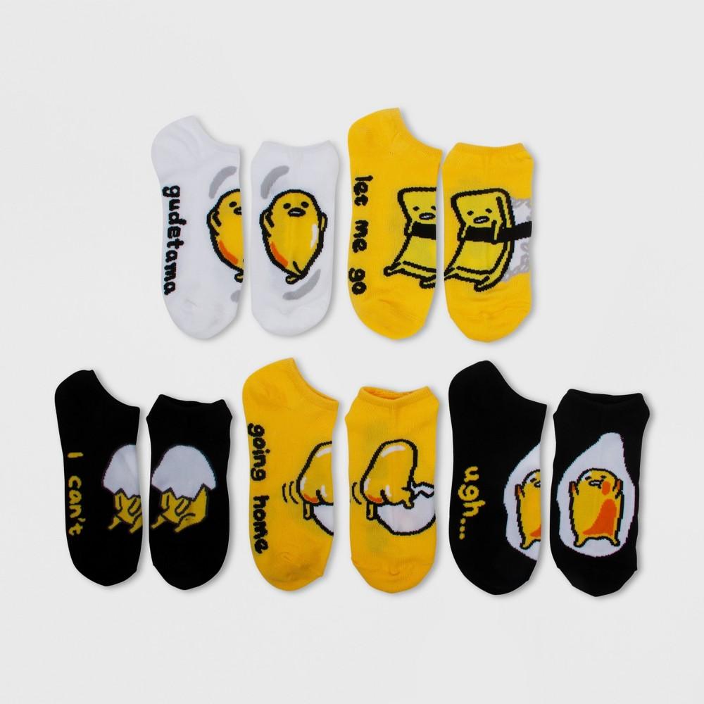 Image of Women's 5pk Gudetama Low Cut Socks - Yellow 9-11