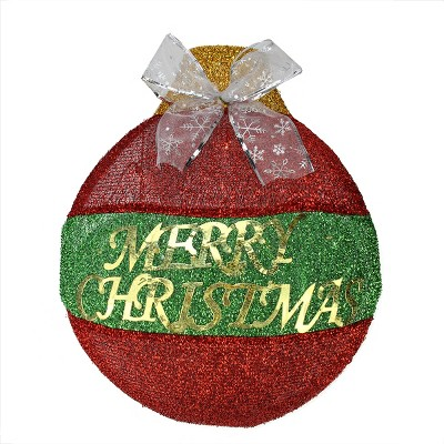 """Northlight 17.25"""" Pre-Lit Red and Green LED 'Merry Christmas' Wall Hanging Ornament"""