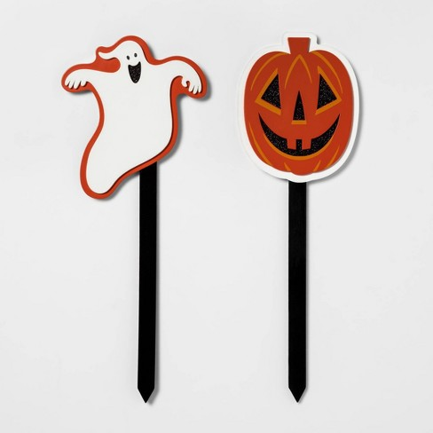 Halloween Yard Stakes.2pc 16 Pumpkin And Ghost Halloween Yard Stake Hyde Eek Boutique
