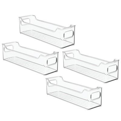 mDesign Slim Plastic Kitchen Pantry Cabinet Food Storage Bin, 4 Pack - Clear