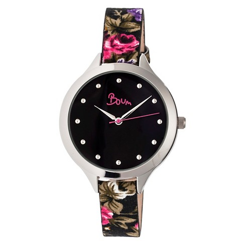 Women's Boum Bijou Watch with Floral Patterned Genuine Leather Strap - Silver/Black - image 1 of 3