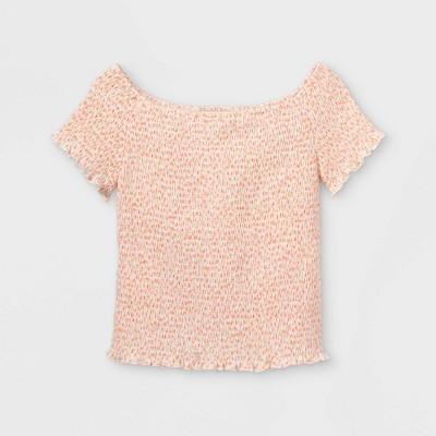Girls' Smocked Short Sleeve Top - art class™