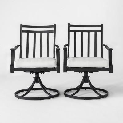 Fairmont 2pk Metal Swivel Rocking Patio Dining Chair Linen - Threshold™