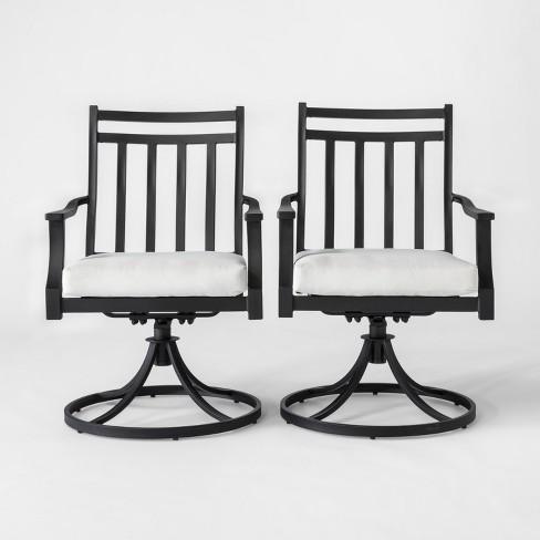 Fairmont 2pk Metal Swivel Rocking Patio Dining Chair Linen