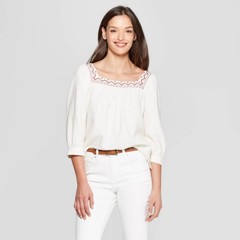 f9c12b2803dd32 Women's Long Sleeve Square Neck Top - Universal Thread™ Cream : Target
