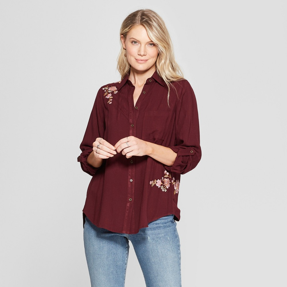 Women's Floral Print Roll Tab Long Sleeve Embroidered Hi Lo Hem Top - Knox Rose Burgundy XL, Red