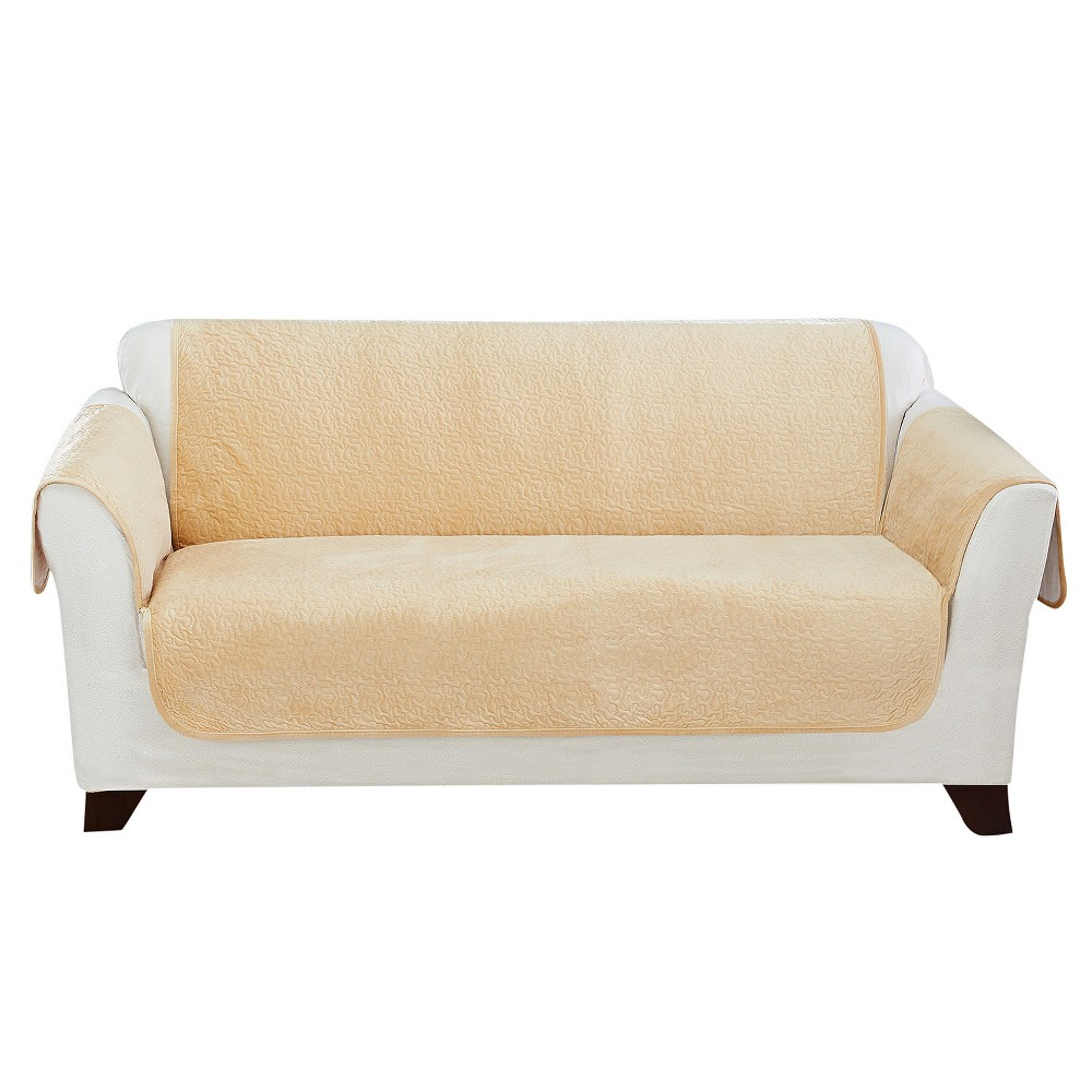 Wondrous Elegant Vermicelli Sofa Furniture Cover Champagne Beige Sure Fit Machost Co Dining Chair Design Ideas Machostcouk