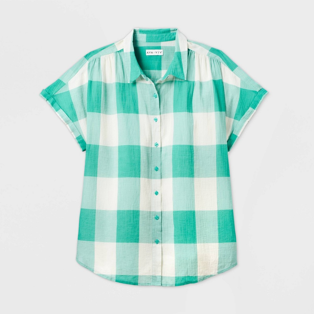 Cottagecore Clothing, Soft Aesthetic Women39s Plus Size Gingham Short Sleeve Collared Blouse - Ava 38 Viv8482 $22.99 AT vintagedancer.com