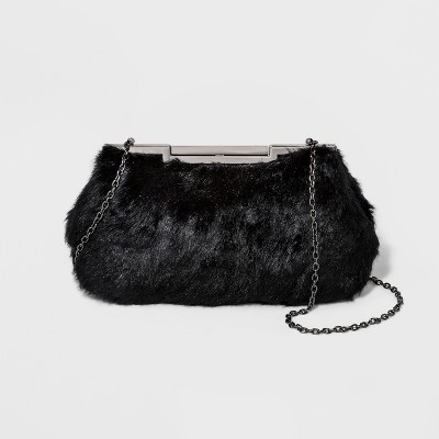 Estee & Lilly Bar Clasp Closure Faux Fur Frame Clutch - Black
