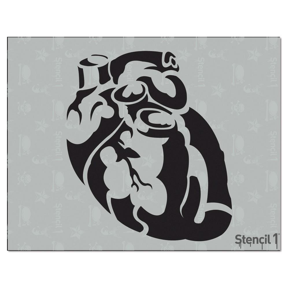 Stencil1 Heart Anatomical - Stencil 8.5 x 11, White