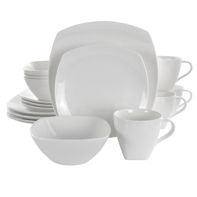 16pc Porcelain Deluxe Square Dinnerware Set White - Elama