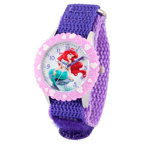 Disney® Girls' Ariel Stainless Steel with Bezel Watch - Purple - image 1 of 2